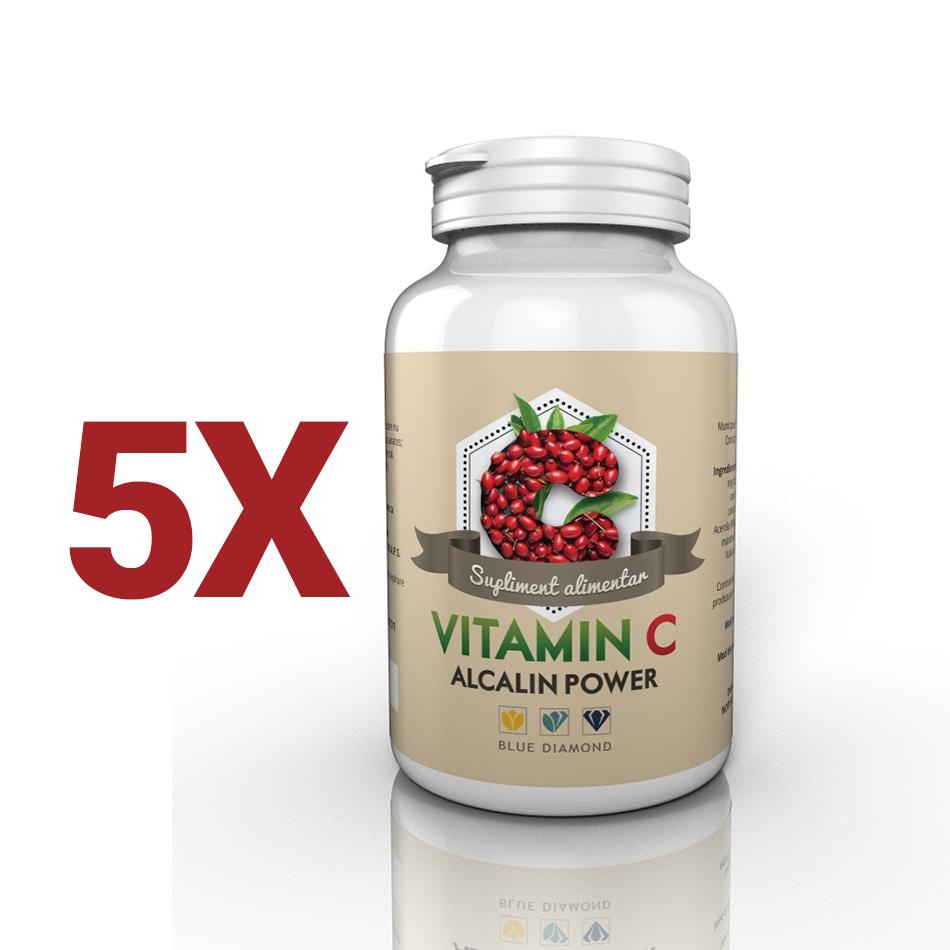 PACHET PROMOTIONAL 5 Vitamina C Alcalin Power – Vitamina C din ascorbat de calciu, m...